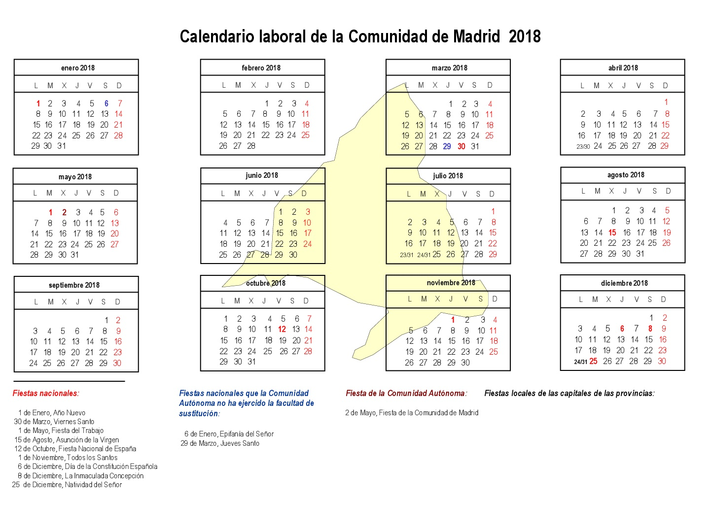 Calendario Laboral de la Comunidad de Madrid, 2018
